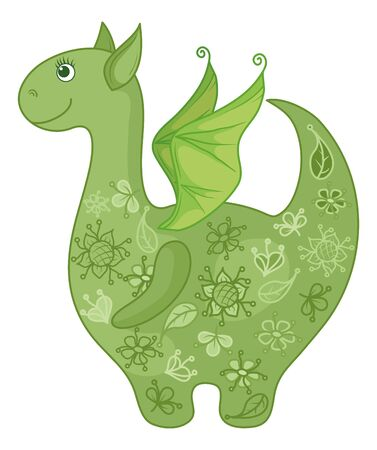 Symbol of holiday East New year of the Dragon, with a green floral pattern. Vector Vector