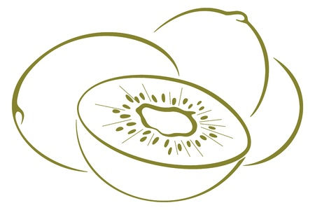 Food, kiwi fruit, green monochrome pictogram on a white background, vector Illustration