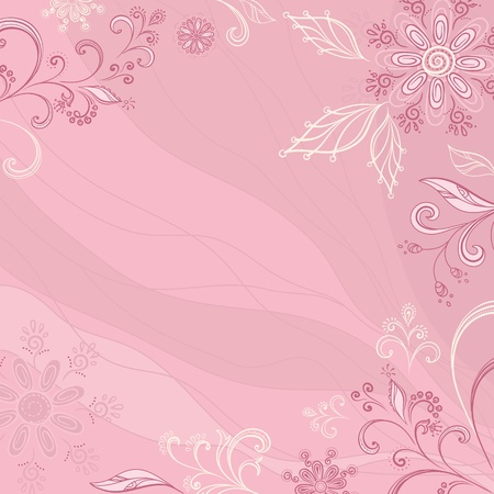 Abstract pink background with a symbolical outline flowers and leaves. Vector Vector