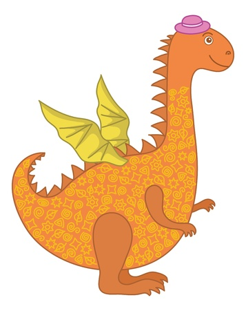 Symbol of holiday East New Years orange and yellow dragon in a lilac hat. Vector Vector