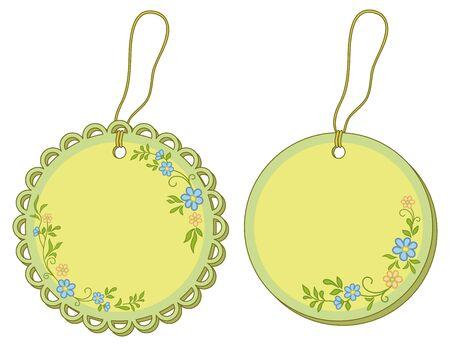Etiquetas etiquetas redondas con motivos florales y cuerdas. Vector Foto de archivo - 11783044