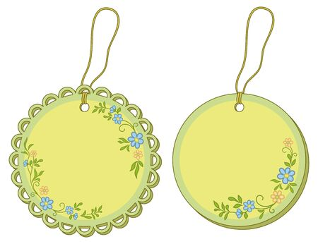 Round labels tags with floral pattern and ropes. Vector Vector