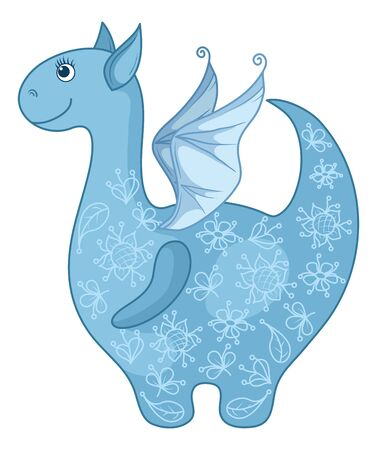 Symbol of holiday East New year, blue Dragon with a floral pattern. Vector Vector