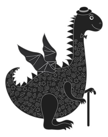 Symbol of holiday East New Years dragon in a hat with a cane, black silhouette with white lines. Vector Vector