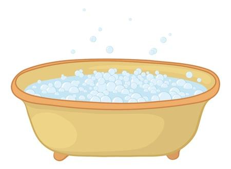 Alte Badewanne mit blauen Blasen der Seifenlauge.