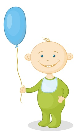 romper suit: Cheerful smiling child holding a blue balloon.