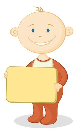 romper suit: Cheerful smiling child with a plate for your text.