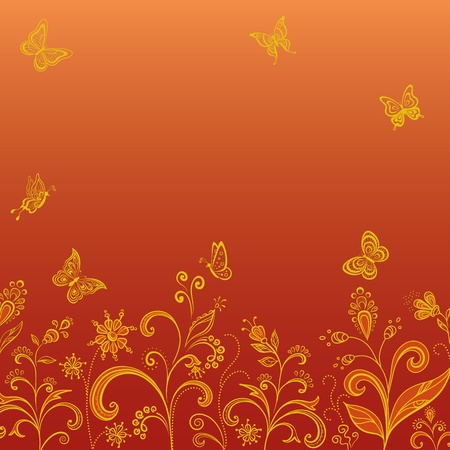 azahar: Resumen de fondo floral, flores simb�licas de oro y mariposas en la luz roja.