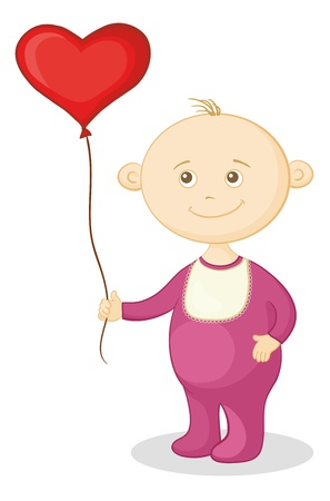 baby romper: Smiling child with a red heart-shaped valentine balloon.