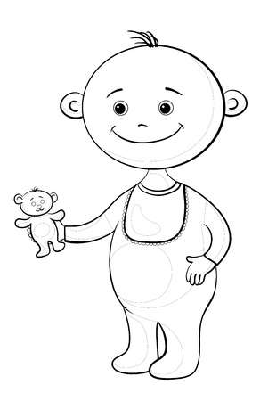 tot: Cartoon, cheerful smiling child with a toy teddy bear, contours.  Illustration