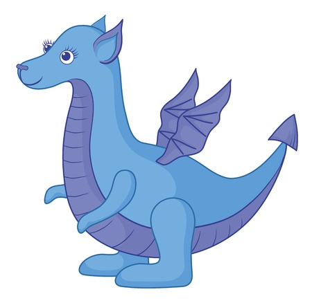 Symbol of holiday East New year, blue Dragon. Vector Vector