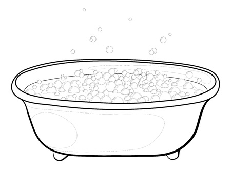 Old bathtub with bubbles of soap suds, contours. Vector Vector