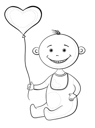 romper: Smiling child sits with a heart-shaped valentine balloon, contours. Vector