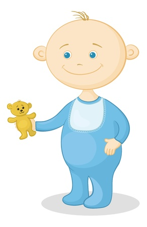 romper: Cartoon, cheerful smiling child with a toy teddy bear. Vector