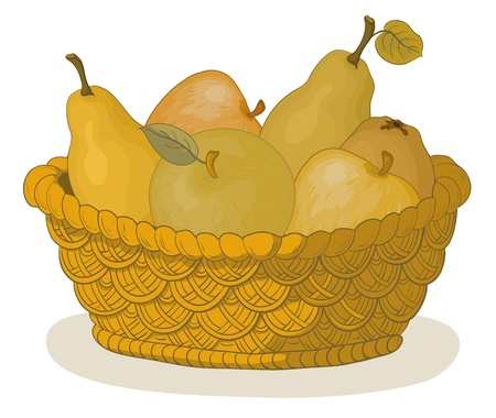 Still life, wattled basket with sweet fruits: apples and pears. Vector Vector