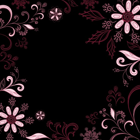 Abstract background with a symbolical pink flowers, leaves and contours. Vector Vector