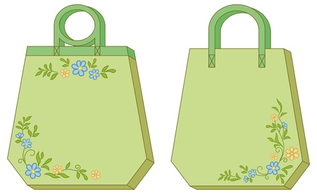 Hexahedron green labels tags with floral pattern. Vector Vector