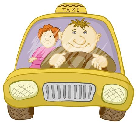 taxi: Dibujos animados, taxi coche con un conductor y el pasajero del hombre a una mujer. Vector Vectores