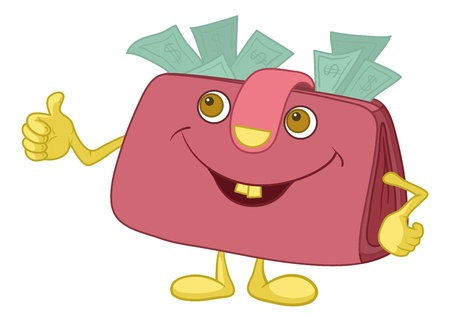 Smiling pink wallet with dollar bills showing thumbs up. Vector Vector