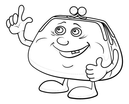 Smiling money purse showing thumbs up, contours. Vector Stock Photo - 11969596