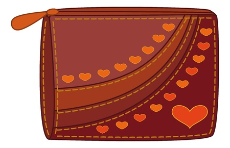 Red and brown purse for money with orange valentine hearts. Vector Stock Vector - 11969590