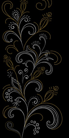 symbolical: Abstract floral background, symbolical gold and white flowers on black. Vector