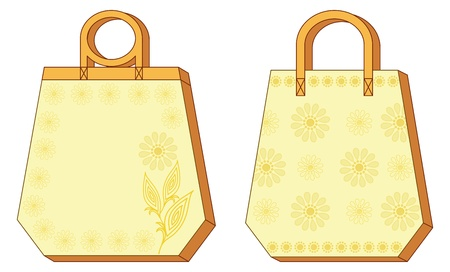 hexahedron: Hexahedron yellow and orange labels tags with floral pattern. Vector