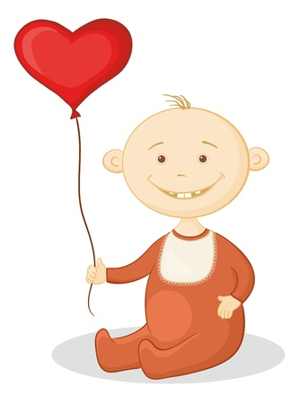 romper suit: Smiling child sits with a red heart-shaped valentine balloon.