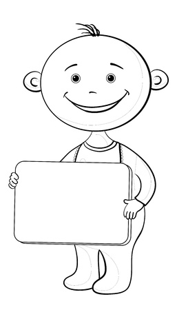 Cheerful smiling child with a plate for your text, contours.  Vector