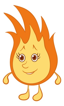 Cartoon, smiling fire with red hair and brown eyes. Illustration