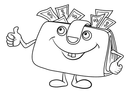 Smiling wallet with dollar bills showing thumbs up, contours.  Vector
