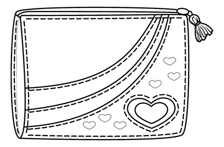 heart sketch: Purse for money with valentine hearts, contours. Vector