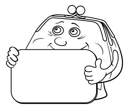 Smiling money purse with a plate for your text, contours. Vector Vector