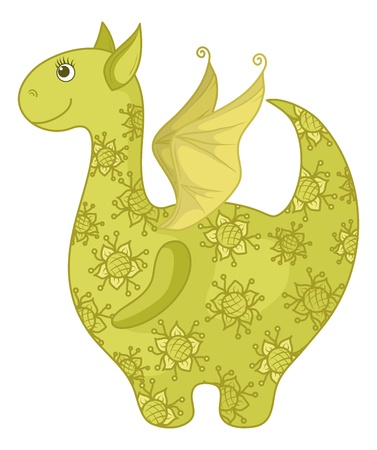 Symbol of holiday East New year Dragon with a green and yellow floral pattern. Vector Vector