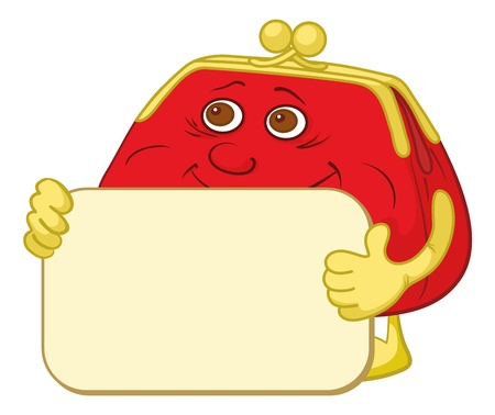 Smiling red and yellow money purse with a plate for your text. Vector Vector