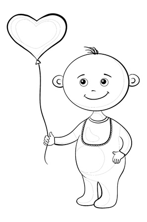 romper suit: Smiling child with a heart-shaped valentine balloon, contours. Vector