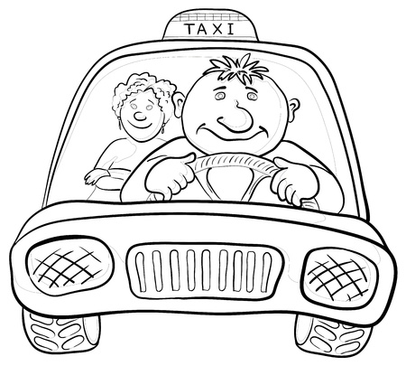 passenger: Cartoon, car taxi with a man driver and passenger a woman, contours. Vector