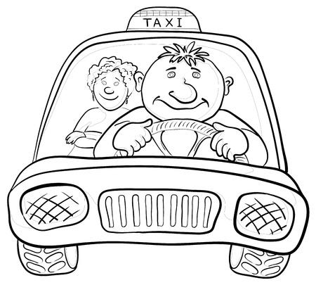 autom�vil caricatura: Dibujos animados, coche taxi con un hombre conductor y el pasajero de una mujer, contornos. Vector