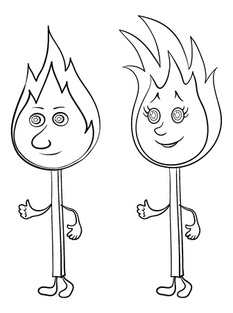 couple lit: Cartoon, two lights burning matches with smiles, contours. Vector