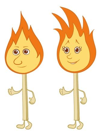 couple lit: Cartoon, two lights burning matches with smiles. Vector Illustration