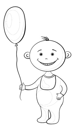 black baby boy: Cheerful smiling child holding a balloon, contours. Vector Illustration