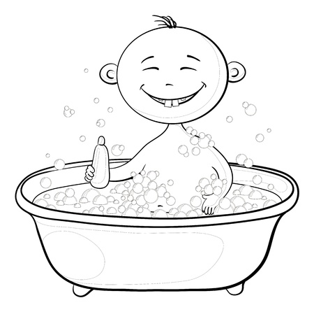 Cartoon, contours: cheerful smiling child sitting in a bath with soap and holding a bottle of shampoo. Vector Vector