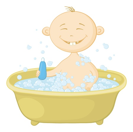 Cartoon, cheerful smiling child sitting in a bath with soap and holding a bottle of shampoo. Vector Vector