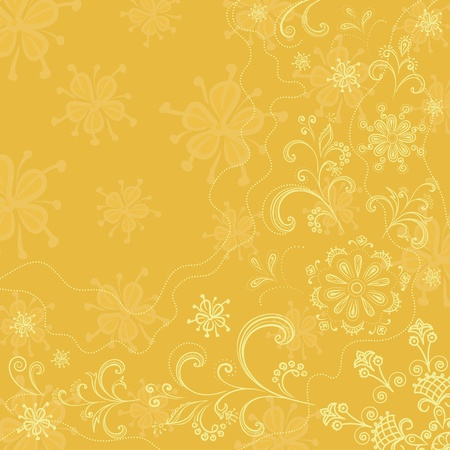 outline flower: Abstract floral background, outline flowers and leaves on a yellow. Vector