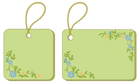 Green labels tags with floral pattern and ropes. Vector Vector