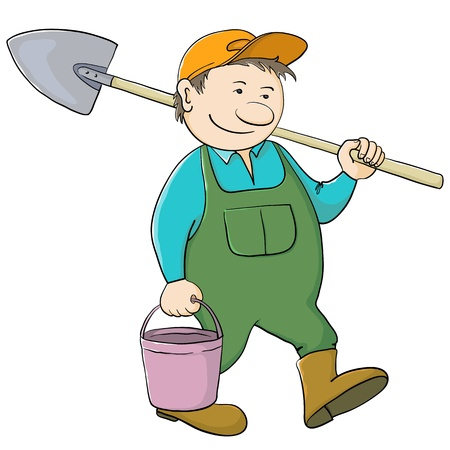 Man gardener with a bucket and a shovel goes to work in a garden Stock Vector - 12079364