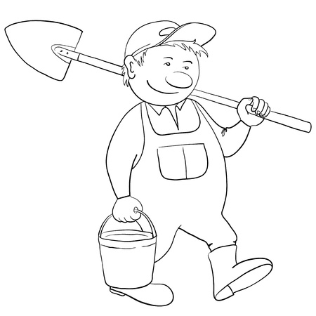 Man gardener with a bucket and a shovel goes to work in a garden, contour Vector