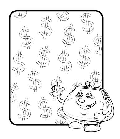 Smiling purse shows the thumb up against the background of the poster with dollars, contours. Vector Stock Vector - 12079369