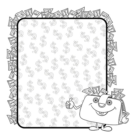 Smiling purse shows the thumb up against the background of the poster with dollars, contours. Vector Vector