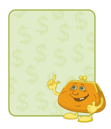 Smiling purse shows the thumb up against the background of the poster with dollars. Vector Stock Vector - 12079368